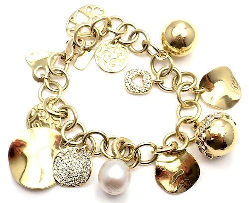 Ippolita 18k Yellow Gold Diamond 12 Charm Link Bracelet