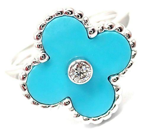 Van Cleef & Arpels Alhambra 18k Diamond Turquoise Ring