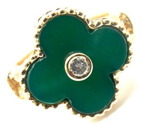 Van Cleef & Arpels Alhambra 18k Chalcedony Diamond Ring