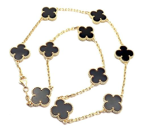Van Cleef &Arpels 18k Vint Black Onyx Alhambra Necklace