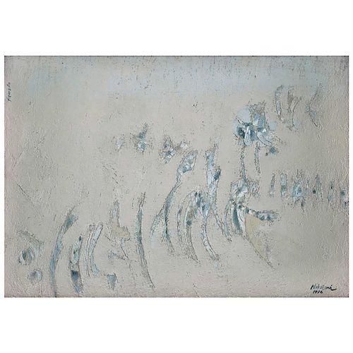 Carlos Nakatani. Figurado. Óleo y polvo de mármol sobre tela. Firmado y fechado 1976.