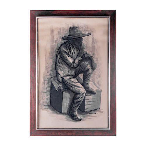 S. Calderón. México, siglo XX. Campesino sentado contemplando. Tinta sobre papel. Firmado y Fechado 67. Enmarcado.