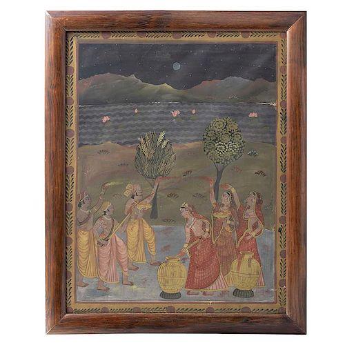 Escena con fiesta Holi. India, siglo XX. Acrílico sobre tela. Enmarcada. 105 x 82 cm.