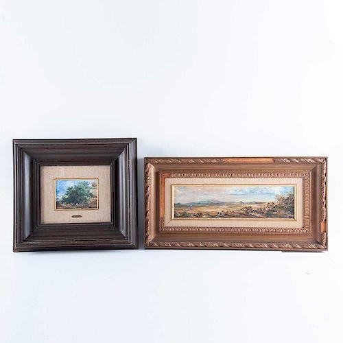 Jorge Cázares. Vista de paisaje con cerros y Árbol. Óleos sobre tabla. Firmados, uno fechado. Enmarcados.