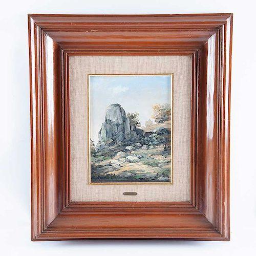 Jorge Cázares. Vista del Cerro del Aire, España. Óleo sobre fibracel. Firmado y fechado 1973. Enmarcado.