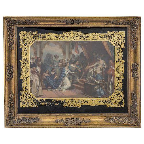 Par de escenas medievales. Siglo XIX. Litografías coloreadas. Enmarcadas en vidrio eglomisado y detallado en oro. Dimensiones: 41 x 59