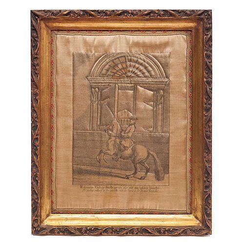 """2 Reproducciones de Johann Elías Ridinger (1698-1767). Siglo XX De la serie """"Escuela de Equitación"""", Impresión sobre raso de seda."""