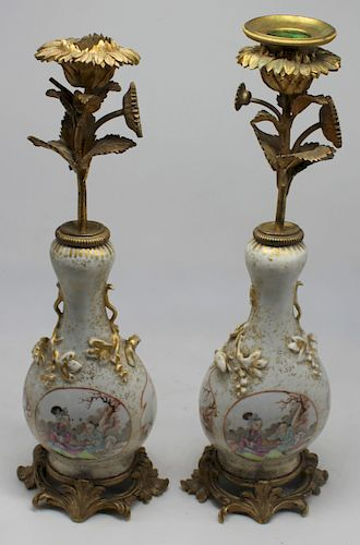 Pair of Bronze and Porcelain Chinese Export Style