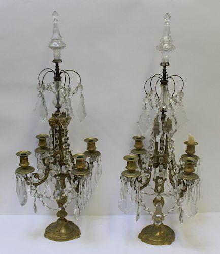 Pair of Large 19th C. Gilt Metal & Crystal
