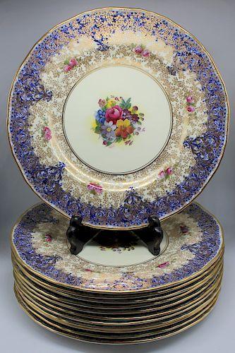 12 Signed M. Hunt Royal Worcester Dinner Plates.