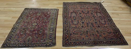 2 Antique And Finely Hand Woven Sarouk Area Rugs.