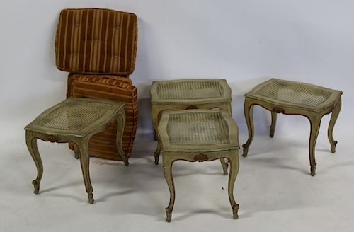 Two Pairs of Louis XV Style Stools