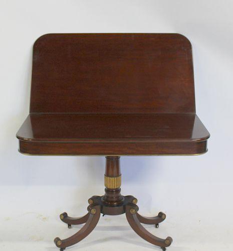 Regency Style Mahogany Flip Top Pedestal Table.