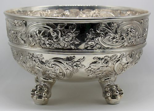 SILVER. Antique English Silver Punch Bowl.