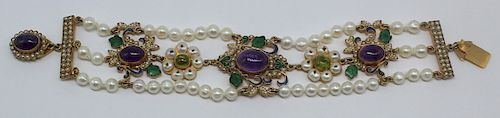 JEWELRY. Antique Pearl and Amethyst Bracelet.