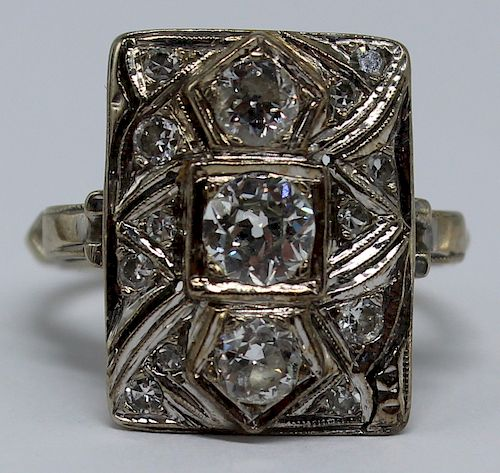 JEWELRY. Art Deco 14kt Gold and Diamond Ring.