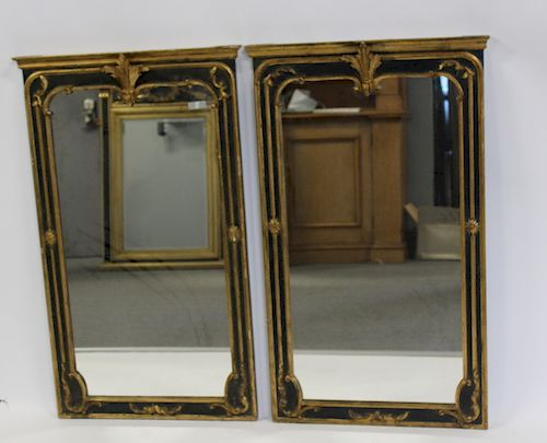 Lot of 2 Ebonised, Carved and Gilt Decorated