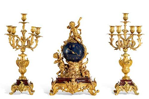 Louis XV style bronze and marble clock garniture