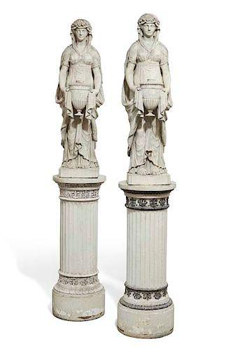 Pair  English  terracotta figures: vestal virgins