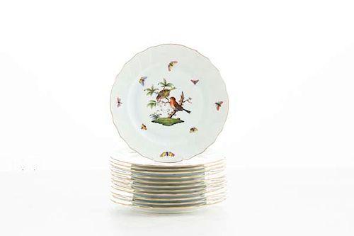 Twelve Herend Rothschild Bird dinner plates