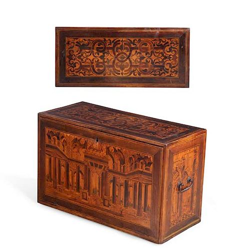 German late Renaissance marquetry table cabinet