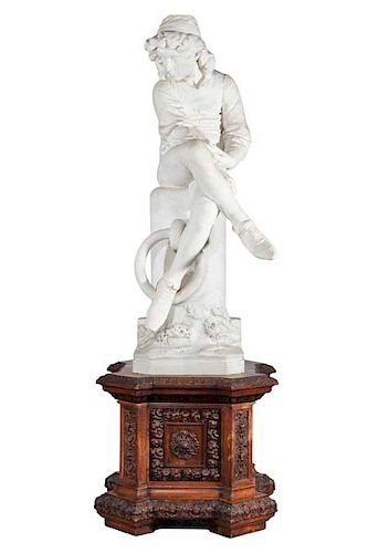 Italian marble figure: Young Columbus, Monteverde
