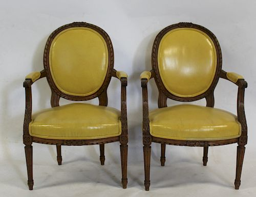 Pair of Louis XVI Style Finely Carved Arm Chairs.