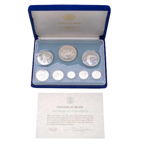 Coleccion de 8 monedas de plata Belize. Certificado de autenticidad. Estuche y caja original.