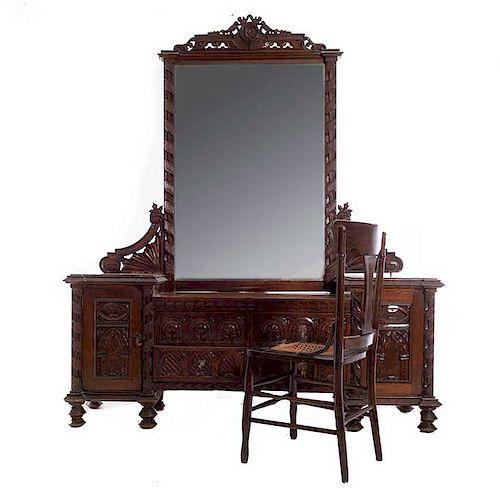Tocador. Siglo XX. En talla de madera. Cuenta con espejo de luna rectangular biselada y silla con asiento de bejuco.