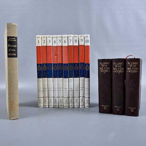 """Lote de 14 libros. Tema de Historia, literatura y grámatica. Consta de """"Las mil y una noches"""". México: Aguilar, 1966. Entre otros."""