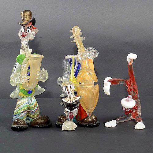 Lote de 3 payasos. Siglo XX. Elaborados en cristal de murano. Acabado sommerso.