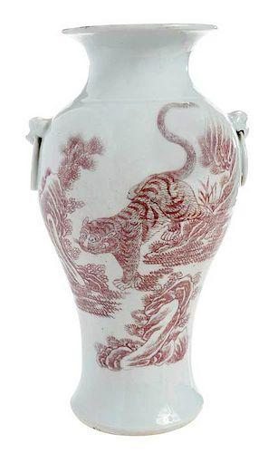 Chinese Porcelain Red Tiger Vase