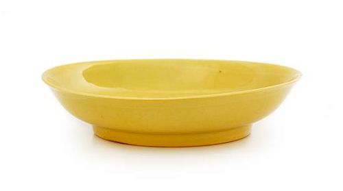 A Yellow Glazed Porcelain Dish Diameter 7 inches.