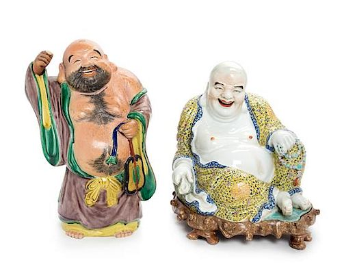 * Two Porcelain Figures of Laughing Buddha Height of taller 14 1/2 inches.