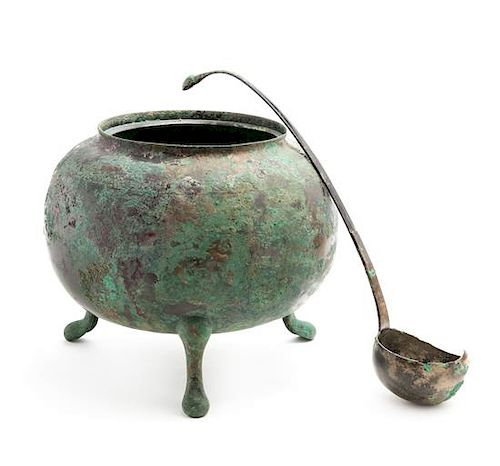 A Large and Rare Bronze Tripod Tureen and Ladle Diameter of tureen 9 inches.