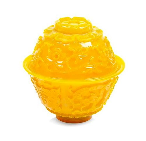 * A Yellow Peking Glass Covered Bowl Diameter 4 inches.