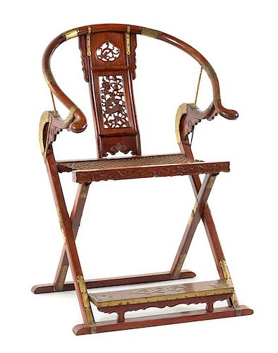 A Huanghuali Horseshoeback Folding Chair, Jiaoyi Height 43 3/4 x length 29 1/4 x width 19 inches.
