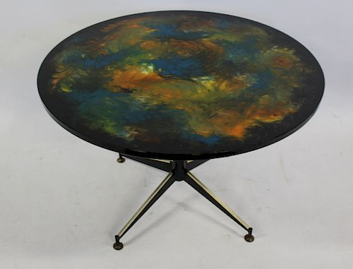 MIDCENTURY. Paint Decorated Table .