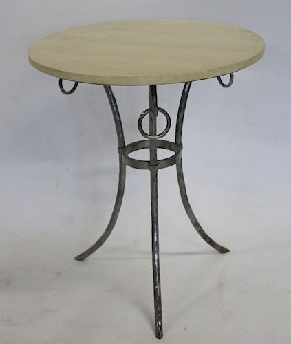 MIDCENTURY. Polished Steel table With Round Marble