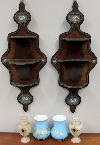 Pair of Rosewood Wall Shelves with Sevres