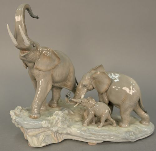 Large Lladro porcelain figural group of three elephants  ht  14 1/2