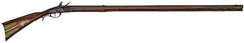 Early Raised Carved Kentucky Flintlock Rifle by H. Mauger with Engraved Horn