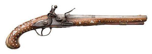 Early Flintlock Horseman's-Size Pistol