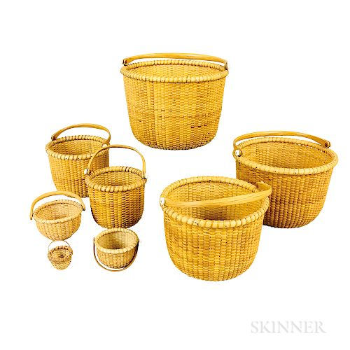 R. Corey Set of Five Nesting Nantucket Baskets and Three Miniature Baskets