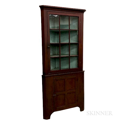 Country Red-painted and Glazed Pine Two-piece Corner Cupboard