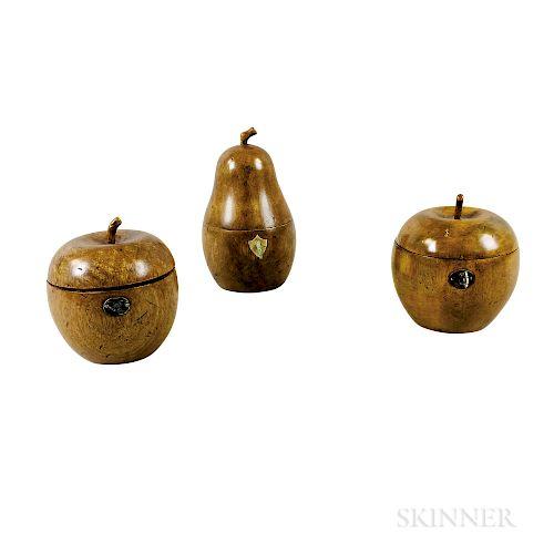Three Fruitwood Fruit-form Tea Caddies