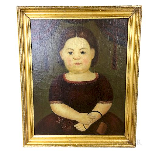 Framed American School Oil on Canvas Portrait of a Child