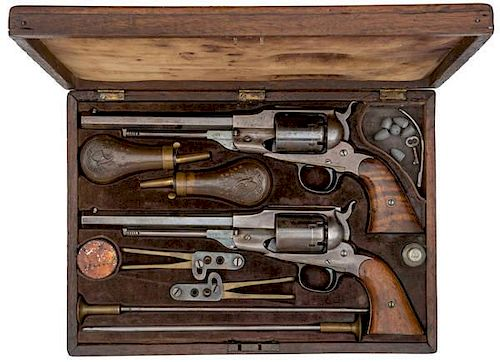 Only Known Original Double Cased Pair of Remington Beal's Navy Percussion Revolvers with Accessories