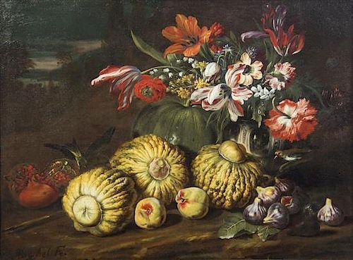 Abraham Brueghel, (Flemish, 1631-1690), Nature morte (Still Life with Fruit and Crow)