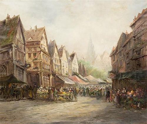 Paul Denarie, (French, 1859-1942), Market Scene, Strasbourg